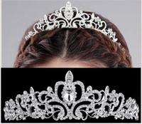 Wholesale Elegant Hair Bows - Beautiful Pearl Princess Tiara Crown Elegant Wedding Bridal Crown Rhinestone Crystal Tiara Pageant Prom Hair Headband