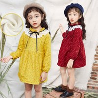 Wholesale Doll Hit - Wave Point Doll Dress Girls Hit Color Bow Lace Skirt Casual Plus Cashmere Warm Solid Color