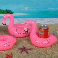 Wholesale Christmas Stocking Holders Wholesale - 12pcs lot Flamingo Inflatable Drink Botlle Holder Lovely Pink Floating Bath Kids Toys Christmas Gift For Kids S30263