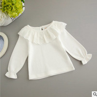 Wholesale Kids Blouse Embroidery - Toddler T-shirt baby girls hollow lace embroidery falbala collar princess tops autumn baby bottoming shirt kids long sleeve blouses R0967