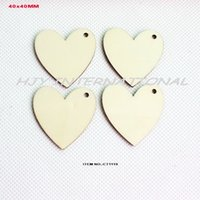 Wholesale Wholesale Wood Cutouts - Wholesale-(120pcs lot) 1 Hole unfinished natural wooden heart love cutout rustic crafts wood wedding key chain ornaments -CT1119