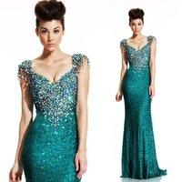 Wholesale Low Cut Red Prom Dress - 2016 Luxury Formal Evening Dresses Low Cut Cap Sleeves Mermaid Sequins Crystal Prom Gowns Vestido Women Zuhair Murad dresses for womens