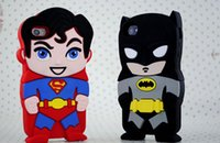 Wholesale Iphone 4s 3d Batman Cases - 3D Cartoon SUPERHERO Batman Iron Man Soft Silicone Gel Case for iphone 5 5s 4 4s iphone 6 4.7 Plus 5.5 inch with pp bag free shipping 50