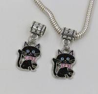 Wholesale European Style Cat Bead Wholesale - Hot sell ! Black ENAMEL Bowtie Cat Dangle Bead fit European Style Charm Bracelets 14 x 30 mm (ab657)