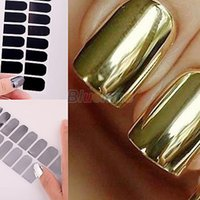 Wholesale Nail Patch Sticker Gold - Smooth Nail Art Sticker Patch Foils Wraps Decoration Hot Sell Gold Silver Black 1NK3