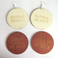 Wholesale Touch Wood - Wholesale- Free Shipping! Don't Touch My Hair Word Wood Earrings