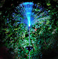 Wholesale Fibre Optic Lamps - Solar Power Color Change Fibre Optic Garden Outdoor Yard LED Light Lamp Bulb Hot Free Shipping, dandys