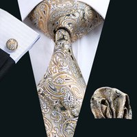 ingrosso formali gialli-Giallo Paisely Tie Hanky Gemelli Set Mens di seta Jacquard intrecciato formale Business Fashion Leisure cravatta cravatta N-0271