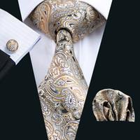Wholesale Men Ties Woven Silk Jacquard - Yellow Paisely Tie Hanky Cufflinks Set Mens Silk Jacquard Woven Formal Business Fashion Leisure Necktie Ties N-0271