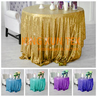 Wholesale White Polyester Tablecloths Round - Nice Looking Sequin Table Cloth For Party And Event Decoration \ Cheap Wedding Tablecloth Door to Door Shipping