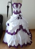 Wholesale Taffeta Strapless Chapel Train - Gothic Wedding Dresses 2015 Taffeta Train Strapless Beads Applique Rose A-Line vestido de novia Bridal Ball Gowns Custom Made