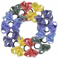 Wholesale Ponytail Holders For Bows - 12pcs  Lot 5 Inch School Gingham Hair Bow With Elastic Hair Bands Boutique Hair Bow Ponytail Holder For Girls