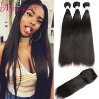 virgin brazilian hair bundles - Brazilian Straight Body wave Human Hair Bundles With Closure Brazilian Human Hair With Closure Unprocessed Virgin Hair Weaves