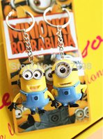 Wholesale 3d Minion Keyring - Wholesale 10pcs(5pairs) Despicable Me 2 3D Yellow man Minion Doll Keyring Key Ring Kids Toy Gift Birthday Party Favor Christmas gift