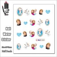 Wholesale Princesses Nail Stickers - Wholesale- 1 Sheet Cheap Nail BLE1980 Cartoon Ice Snow Princess Nail Art Water Transfer Sticker Decal Sticker For Nail Art Decoration