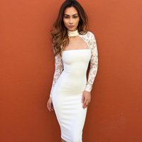 2017 Women Lace Casual Dress Long Sleeve High Collar Night Club Sexy Low-cut  Panelled Hollow Out Pencil Dress One Step Skirt 73ff3b7d5
