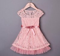 Wholesale European Designer Chiffon Dresses - 2016 Summer New Arrival Girls Lace Bow Dresses Baby Beige Pink Lace Korean Ruffel Dresses Children Designer Pagent Dresses Hot Selling