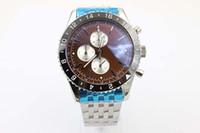 Wholesale Coffee Time - New Arrival Fine Brand Quartz Men's Wristwatch Ti3 Full Stainless Steel Belt Platinum Skeleton Coffee Face Black Bezel Male Watch
