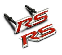 Wholesale Rs Decals - Red RS Chrome Metal Car Grille Styling Emblem Badge 3D Car Sticker Refitting Decal Auto Exterior Logo Decoration 1608