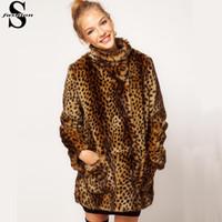 Wholesale Faux Fur Leopard Coat - Lady Leopard Print Faux Fur Coat Polo Neck Long Sleeve Winter Warm Long Coats Outwear CJE1017