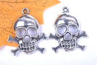 Wholesale Jewelry Connectors Pieces - 100 pieces 27mm lover Skull Wedding Pendant Charms 7071 Beads Clasp Connector Plated Silver DIY Jewelry Necklace infinity Bracelets Earring