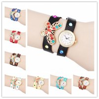 Wholesale Colorful Leather Wrist Band - Fashion Butterfly Wrap Women Watches Lady Leather Wrist Watches Colorful Diamonds PU Band Round Dial Charming Bracelets Watches