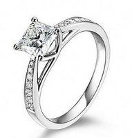 ingrosso oro 14k ct-Gioielli vintage placcato oro reale 14K Genuine 1 Ct SONA Lab Diamond Rings per le donne Aneis de diamante Wedding Engagement Rings