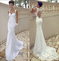 Wholesale Mermaid Ivory Dresses - 2016 Cheap Sexy Spaghetti Straps Sweetheart Ivory Lace Backless Mermaid Sheath Backless Summer Beach Wedding Dresses Cheap Bridal Gowns