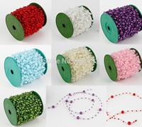 işçilik için boncuklar toptan satış-Toptan-60 M 1 Rulo 8mm İnciler Boncuk Garland Zincir Düğün Süslemeleri Merkezi Mum Işçiliği DIY Favor