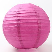 Wholesale Pink Paper Lanterns - Hot sell MIC Fuchsia Hot Pink Chinese Paper Lantern 8'' Wedding Party Supplies Home Decorations 20cm