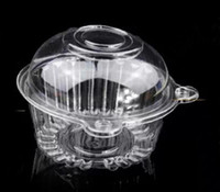 Wholesale Single Plastic Cupcake Holders - 100pcs lot Individual Clear Plastic Cupcake Boxes Single Muffin Cake Container Case Pods Domes Holder free shipping