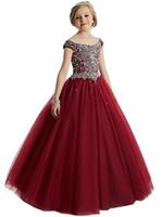 çocuklar için elbise kristalleri toptan satış-Zarif Boncuk Sequins Kızlar Pageant Elbise 2018 Kristal Kız Communion Elbise Balo Çocuklar Örgün Giyim Çiçek Kız Elbise Düğün için