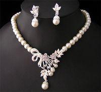 rhinestone bridesmaids jewelry sets 2018 - White Diamond Pearl Necklace Earrings Jewelry Set Bridesmaid Bridal Fine Jewelry Wedding Dresses Accessories Brand New