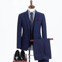 smokin üçlü takım elbisesi satılık toptan satış-Sıcak satış Custom Made Düğün Takım Elbise Yakışıklı Smokin Resmi takım elbise Üç Adet İş İyi adam takım elbise giyer (Ceket + Pantolon + Yelekler)