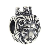 Wholesale King Chain 925 - Beads Hunter Jewelry Authentic 925 Sterling Silver King Lion Charm fashion jewel big hole bead For 3mm European Bracelet snake chain