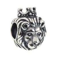 sterling silber löwen schmuck großhandel-Beads Hunter Jewelry Authentische 925 Sterling Silber König Lion Charm Mode Juwel großes Loch Perle für 3mm europäischen Armband Schlange Kette