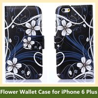 "Wholesale Iphone Wallet Uk - Wholesale Hot UK USA Flag Butterfly Flower Print Folding Wallet Flip Cover Case for Apple iPhone 6 Plus 5.5"" Free Shipping"