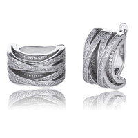 Wholesale Pave Hoops - 100% 925 Sterling Silver Joyas Jewelry AAAAA CZ Micro Paved Knot Huggie Earrings In Lucky Sonny Store