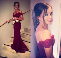 Wholesale Satin Beaded Trumpet - Burgundy Prom Dresses Fancy New 2016 Off Shoulder Fiesta Lace Bodice Cap Sleeves Formal Evening Dresses Backless Cheap Bridesmaid Gowns