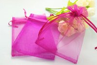 Wholesale Organza 9x12 - 500pcs lot hot pink Organza Bags 7x9 9x12 10x12 10x15cm Wedding Favour Gift bag Jewellery pouches
