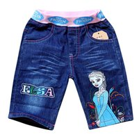 Wholesale Cartoon Waist - new Children Girls Trousers Summer Short Pants Frozen Elsa Anna Pattern Cartoon Kids Clothing Middle Jeans Childs Clothes