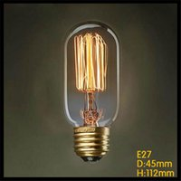 Wholesale T45 Vintage - 110-120v or 220-240v T45 Vintage Squirrel 40W E27 Incandescent Edison Light Bulb clear glass tungsten filament lampada lamp bulb