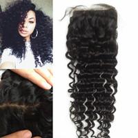 Wholesale best curly virgin hair resale online - Best human hair soft Virgin Indian hair silk based closure deep curly beyonce curl top frontal piece G EASY
