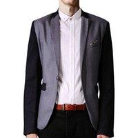 Wholesale Casual Men Fit Blazer - Men Dress Suits Fashion Brand 2015 New Arrival Patchwork Coats Casual Slim Fit Blazers Jackets Outwear Men's Clothing ZHY2019