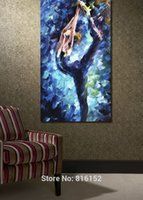 Wholesale ballet oil - Ballet Dancer Blue Dress Abstract Palette Knife Oil Painting Print On Canvas Wall Decoration for Home Hotel Cafe Office