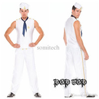 Wholesale Sexy Sailor Men Costume - Wholesale-Mens Sexy Sailor Navy Military Halloween Costumes White men sailor Navy clothing Sailors loaded cosplay uniforms
