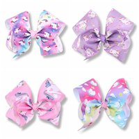 red hair love - 10pcs Girls Jojo Unicorn inch hair Bows Alligator Clips big Paint Love ombre rainbow bowknot hairpins headwear bobbles Accessories HD3514