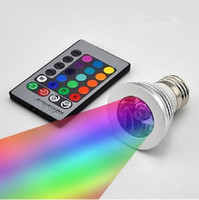 Wholesale 3w 12v bulb online - 3W LED RGB Bulb Color Changing W LED Spotlights RGB led Light Bulb Lamp E27 GU10 E14 MR16 GU5 with Key Remote Control V V