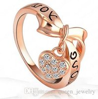 Wholesale Gold Love Words Ring - Wholesale-LZESHINE Brand Black Enamel Love You Ring Heart Bow 18K Rose Gold Plate Austrian Crystal SWA Elements Rings Word Ring Ri-HQ1055