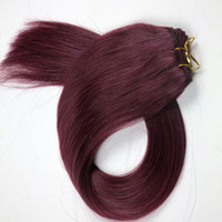 Wholesale 22inch human hair weft for sale - Brazilian hair Human Hair wefts straight hair bundles inch Plum Red Brazilian Indian Human hair Extensions